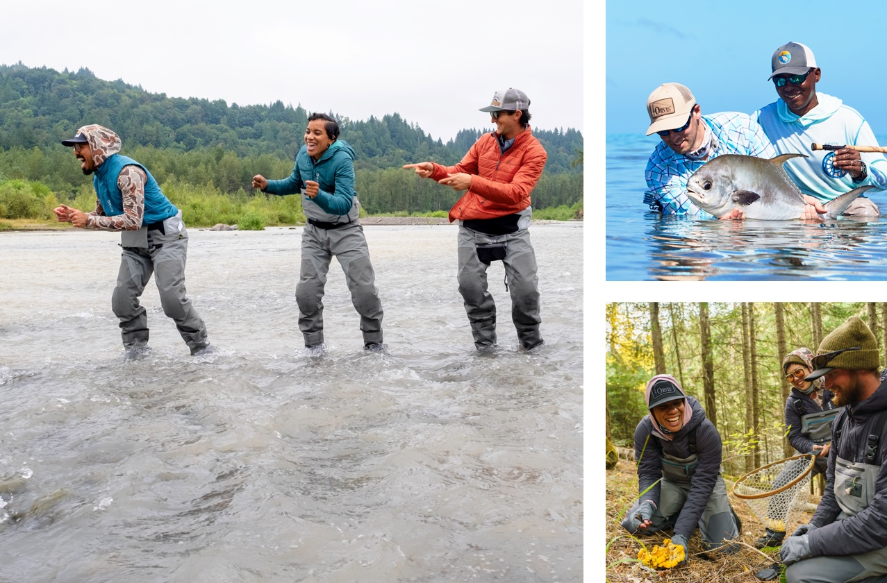 Collage of people fishing and foraging.