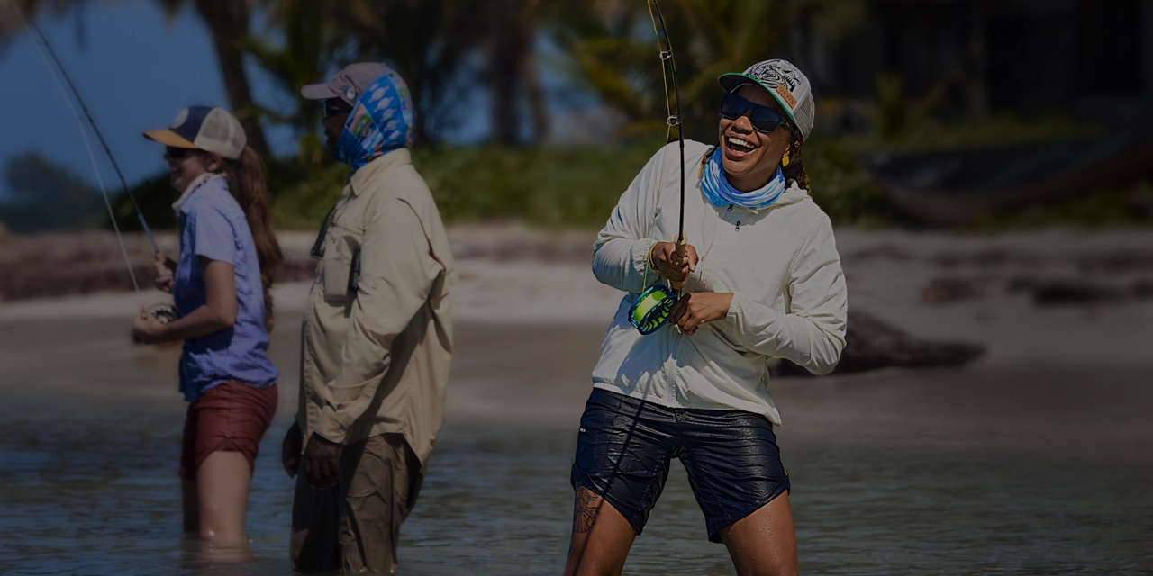 Fly fishing in a beautiful beach location.