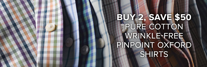 BUY 2, SAVE $50 | PURE COTTON WRINKLE-FREE PINPOINT OXFORD SHIRTS