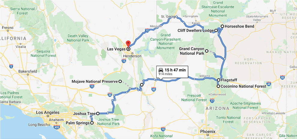 Map of the adventure, in souther California and Arizona.