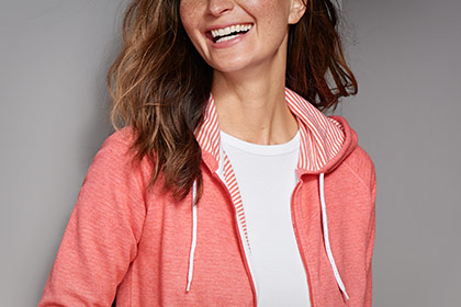 BEAUTIFUL ON THE OUTSIDE—AND THE INSIDE A striped interior and OutSmart® Fresh odor control make our cozy Journey Hoodie a perfect year-round go-to. SHOP WOMEN'S SWEATSHIRTS