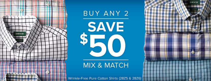 PINPOINT WRINKLE-FREE COMFORT STRETCH LONG-SLEEVED SHIRT - BUY ANY 2, SAVE $50 - MIX AND MATCH
