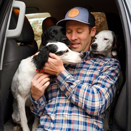 Simon Perkins with his dogs.