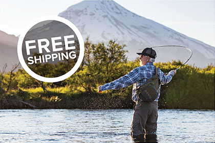 ALL THE GEAR, ALL RIGHT HERE callout: FREE SHIPPING Rods, reels, flies, apparel, tools, accessories, and more. Find everything you need to make the most of every day on the water. Shop Fly Fishing