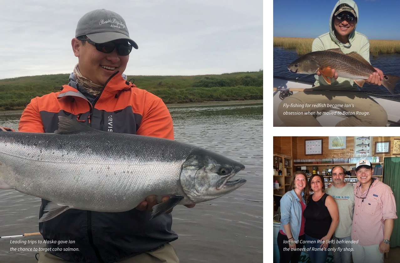 Leading tris to alaska gave Ian the chance to target king salmon. | Fly-fishing for redish became Ian's obsession when he moved to Baton Rouge. | Ian and Carmen Rea befriended the owners of Rome's only fly fishing.