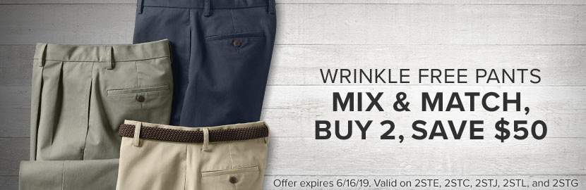 Wrinkle Free Pants | Buy 2, Save $50!