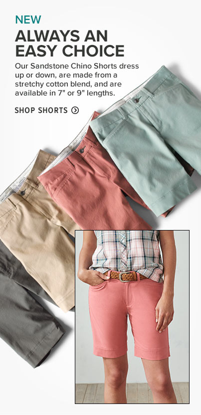 ALWAYS AN EASY CHOICE  Our Sandstone Chino Shorts dress up or down, are made from a stretchy cotton blend, and are available in 7