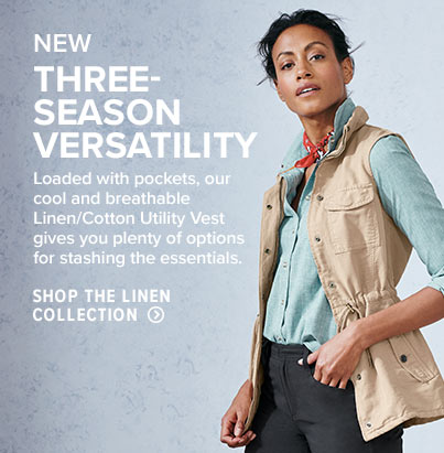 THREE-SEASON VERSATILITY  Loaded with pockets, our cool and breathable Linen/Cotton Utility Vest gives you plenty of options for stashing the essentials. Shop the Linen Collection