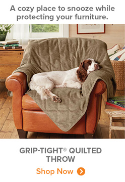 A cozy place to snooze while protecting your furniture. | GRIP-TIGHT® QUILTED THROW Shop Now