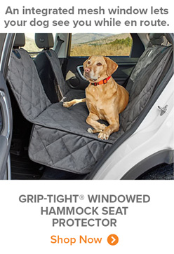 An integrated mesh window lets your dog see you while en route. | GRIP-TIGHT® WINDOWED HAMMOCK SEAT PROTECTOR Shop Now