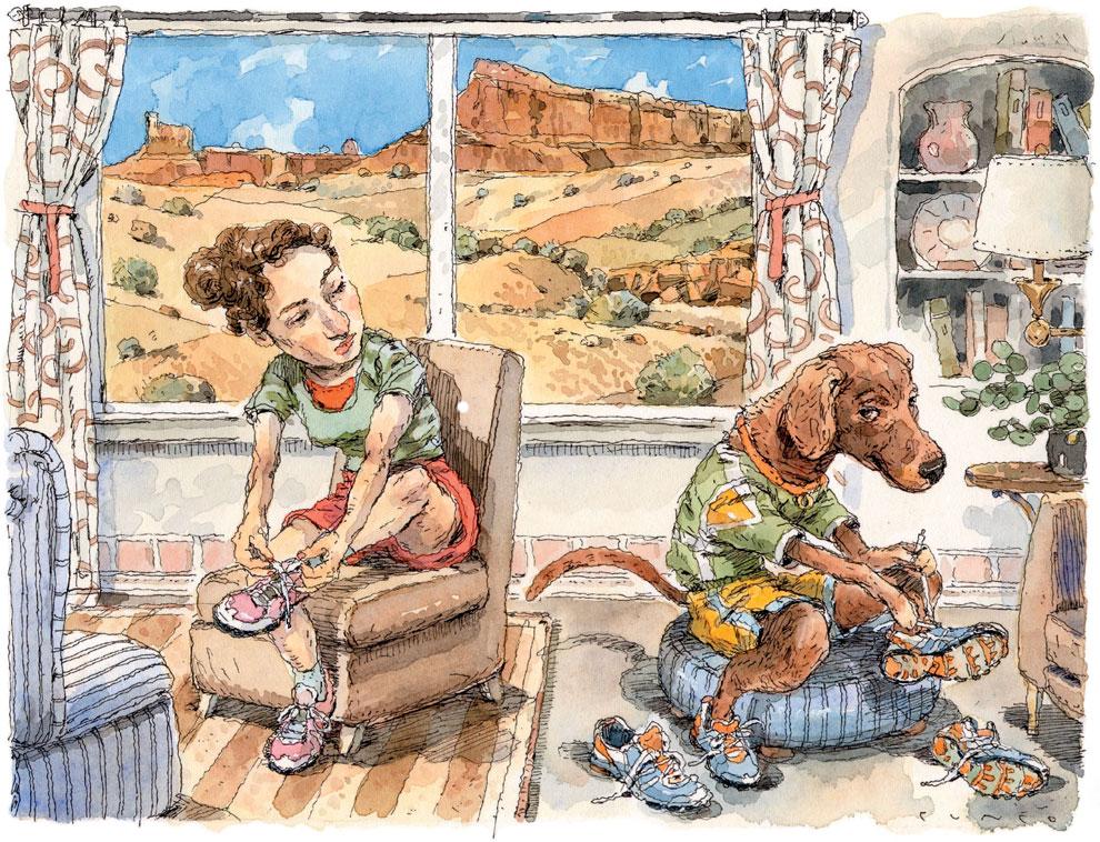 Good Dog Running Illustration