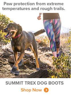 Paw protection from extreme temperatures and rough trails. | summit trex dog boots Shop Now