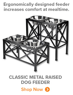 Ergonomically designed feeder increases comfort at mealtime. | CLASSIC METAL RAISED DOG FEEDER Shop Now