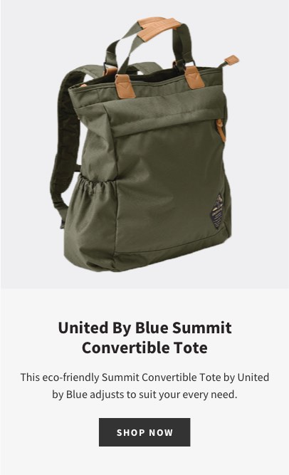 United By Blue Summit Convertible Tote | This eco-friendly Summit Convertible Tote by United by Blue adjusts to suit your every need. | SHOP NOW