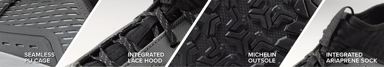 Seemless PU Cage | Integrated Lace Hood | Michelin Outsole | Integrated Ariaprene Sock