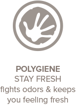 Polygiene Stay Fresh fights odors and keeps you feeling fresh