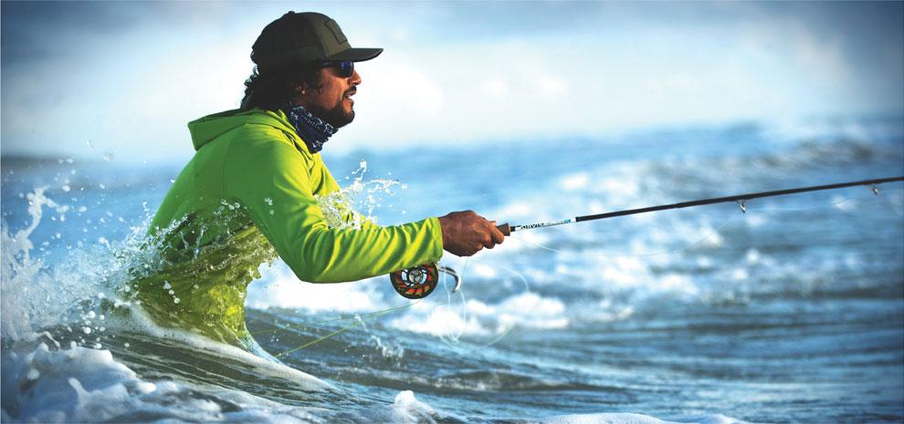 Pro Sun fishing in the water.