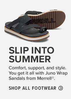 SLIP INTO SUMMER  Comfort, support, and style. You get it all with Juno Wrap Sandals from Merrell?.  Shop All Footwear