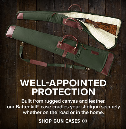 WELL-APPOINTED PROTECTION | Built from rugged canvas and leather, our Battenkill® case cradles your shotgun securely whether on the road or in the home. | Shop Gun Cases