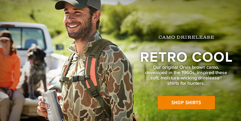 RETRO COOL | Our original Orvis brown camo, developed in the 1960s, inspired this soft, moisture-wicking drirelease hoodie for hunters. | Shop Shirts
