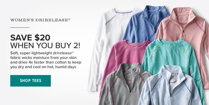 3524c00e95 SAVE $20 WHEN YOU BUY 2! Soft, super-lightweight drirelease® fabric wicks