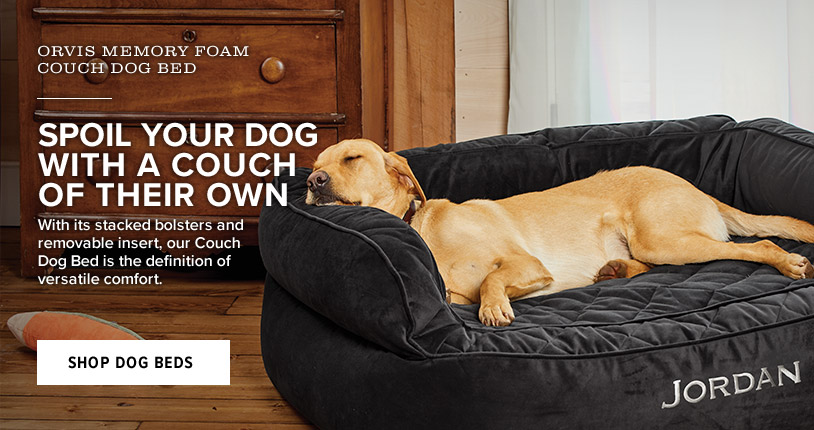 SPOIL YOUR DOG WITH A COUCH OF THEIR OWN  With its stacked bolsters and removable insert, our Couch Dog Bed is the definition of versatile comfort.  Shop Dog Beds