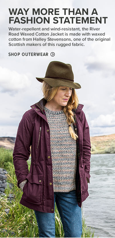 WAY MORE THAN A FASHION STATEMENT Water-repellent and wind-resistant, the River Road Waxed Cotton Jacket is made with waxed cotton from Halley Stevensons, one of the original Scottish makers of this rugged fabric.