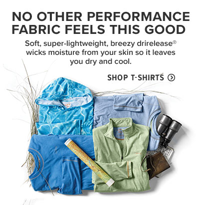 NO OTHER PERFORMANCE FABRIC FEELS THIS GOOD | Soft, super-lightweight, breezy drirelease® wicks moisture from your skin so it leaves you dry and cool.  Shop T-Shirts