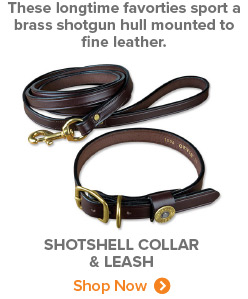 These longtime favorties sport a brass shotgun hull mounted to fine leather. Shotshell Collar & Leash Shop Now