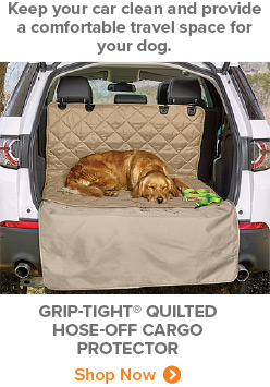 Keep your car clean and provide a comfortable travel space for your dog. | Griptight quilted hose-off cargo protector | Shop Now