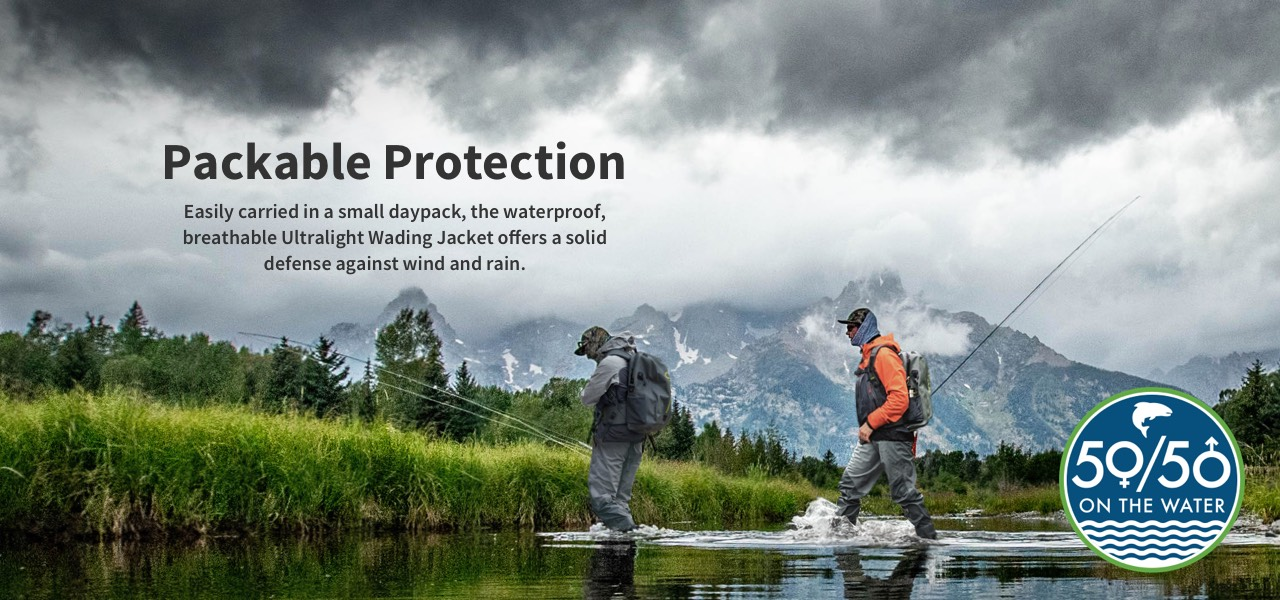 Packable Protection | Easily carried in a small daypack, the waterproof, breathable Ultralight Wading Jacket offers a solid defense against wind and rain.