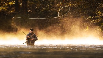 Shawn Combs fishing for trout with his spey rod.