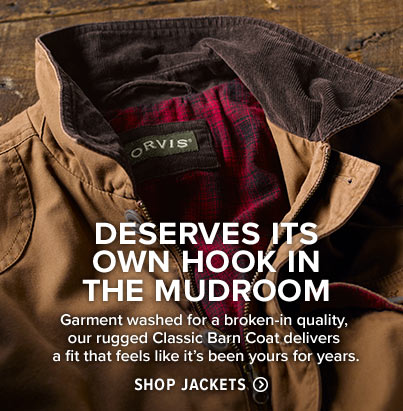 DESERVES ITS OWN HOOK IN THE MUDROOM  Garment washed for a broken-in quality, our rugged Classic Barn Coat delivers a fit that feels like it's been yours for years.  Shop Jackets