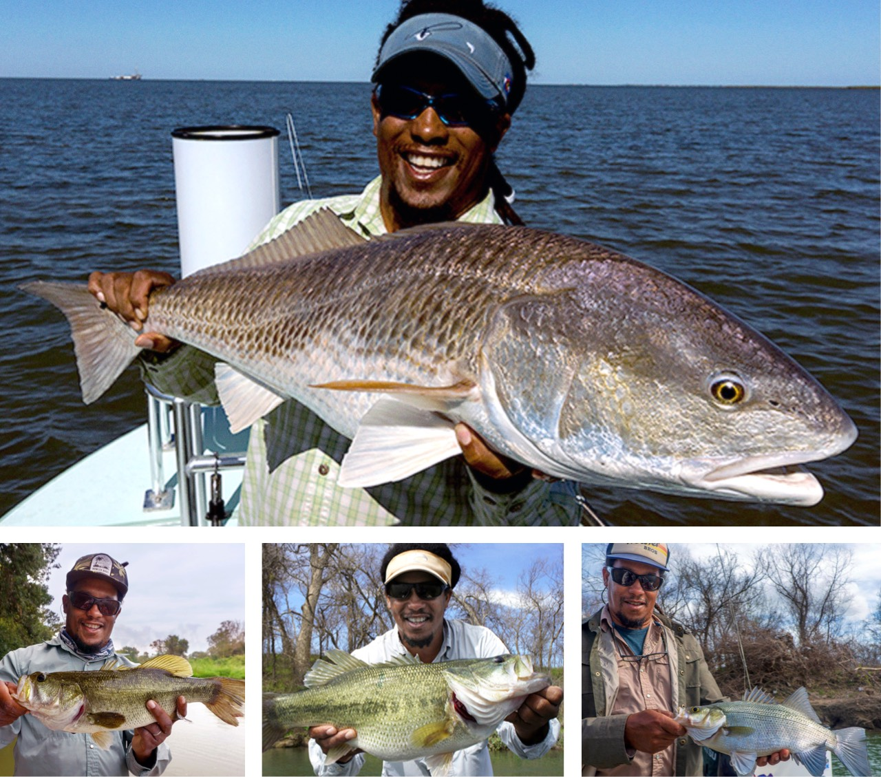 Alvin Dedeaux—owner of All Water Guides in Austin, TX—has access to both saltwater and freshwater game fish. Clockwise from top: redfish, white bass, largemouth bass, and Guadelupe bass.