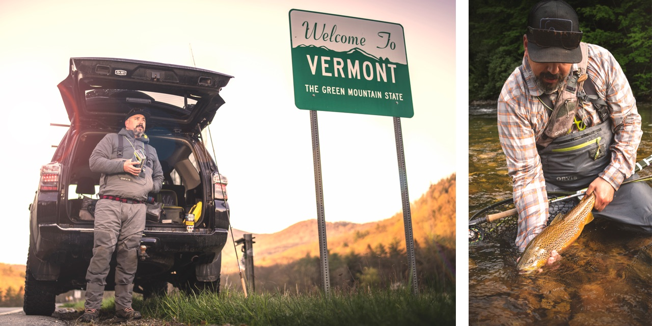 Collage of Shawn Combs fishing on the Vermont border.