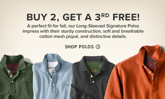 BUY 2, GET A 3RD FREE!  A perfect fit for fall, our Long-Sleeved Signature Polos impress with their sturdy construction, soft and breathable cotton mesh piqué, and distinctive details.  Shop Polos