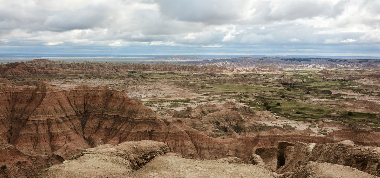 Panoramic view of the badlands landscape.