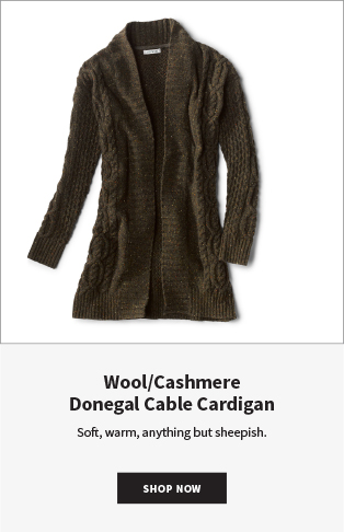 Wool/Cashmere Donegal Cable Cardigan Soft, warm, anything but sheepish. | Shop Now