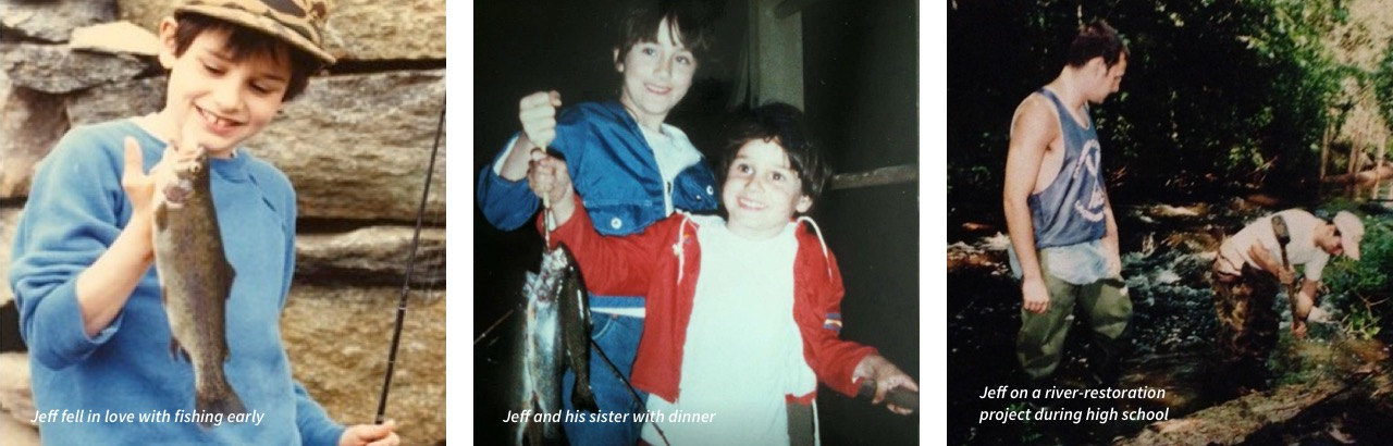 Jeff fell in love with fishing early. | Jeff and his sister with dinner (fish). | Jeff on a river-restoration project during high school.