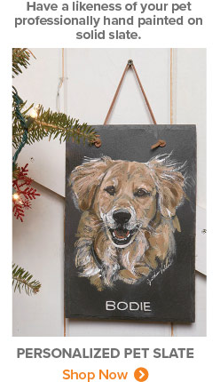 Have a likeness of your pet professionally hand painted on solid slate. | PERSONALIZED PET SLATE | Shop Now