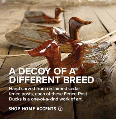 A DECOY OF A DIFFERENT BREED Hand carved from reclaimed cedar fence posts, each of these Fence-Post Ducks is a one-of-a-kind work of art. 