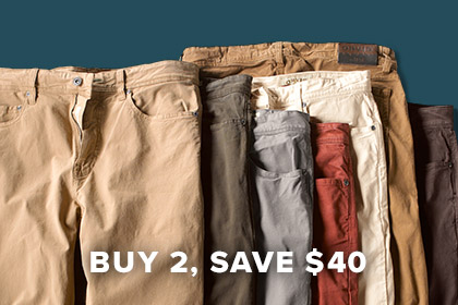 A LITTLE STRETCH GOES A LONG WAY Soft, slightly stretchy, and broken-in, our Stretch Twills are ideal for kicking back anytime, anywhere. Shop Men's Pants
