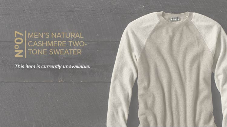 MEN'S NATURAL CASHMERE TWO-TONE SWEATER | Even though cashmere's distinctively soft, silky finish makes it very easy to dye, we opted to mix naturally colored cashmere to produce this sweater's distinctive look. | MAKE THE NATURAL CHOICE