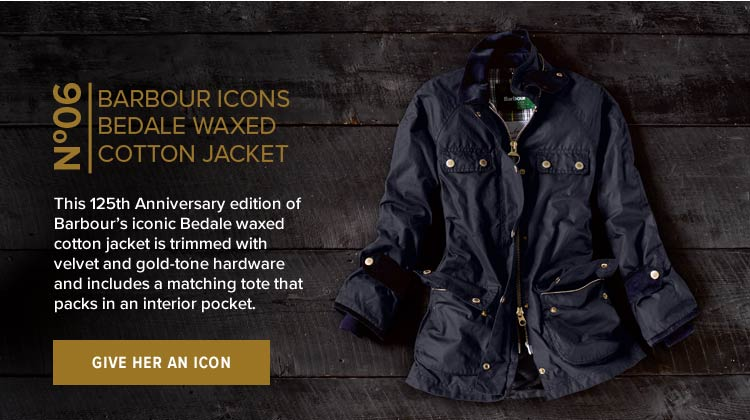 No. 6 BARBOUR ICONS BEDALE WAXED COTTON JACKET | This 125th Anniversary edition of Barbour's iconic Bedale waxed cotton jacket is trimmed with velvet and gold-tone hardware and includes a matching tote that packs in an interior pocket. | GIVE HER AN ICON