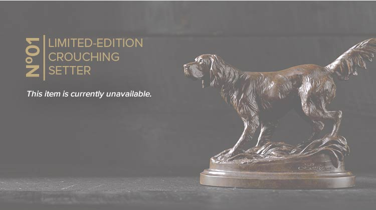 No. 1 LIMITED-EDITION CROUCHING SETTER | The work of Bozeman, Montana, artist Liz Lewis, this magnificent bronze sculpture of a crouching, pointing, old-school setter is an exclusive design in a limited edition of 15 pieces. | GET ONE WHILE YOU CAN