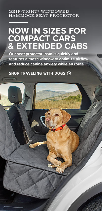 NOW IN SIZES FOR COMPACT CARS & EXTENDED CABS Our seat protector installs quickly and features a mesh window to optimize airflow and reduce canine anxiety while en route.  Shop Traveling with Dogs