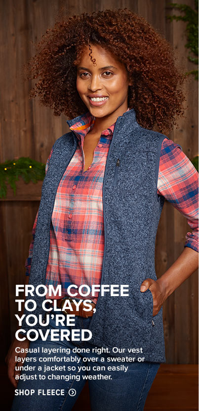 FROM COFFEE TO CLAYS, YOU'RE COVERED. Casual layering done right. Our vest layers comfortably over a sweater or under a jacket so you can easily adjust to changing weather.