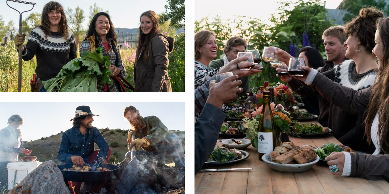 Collage of friends gardening, cooking, and eating together.