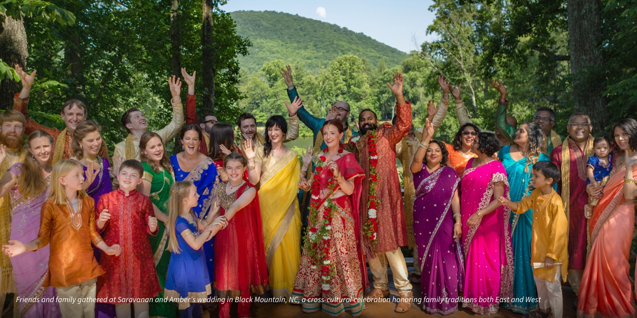 Friends and family gathered at Saravanan and Amber's wedding in Black Mountain, NC, a cross-cultural celebration honoring family traditions both East and West.