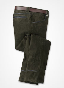 Our men's handsome leather pants offer rugged durability in the field.